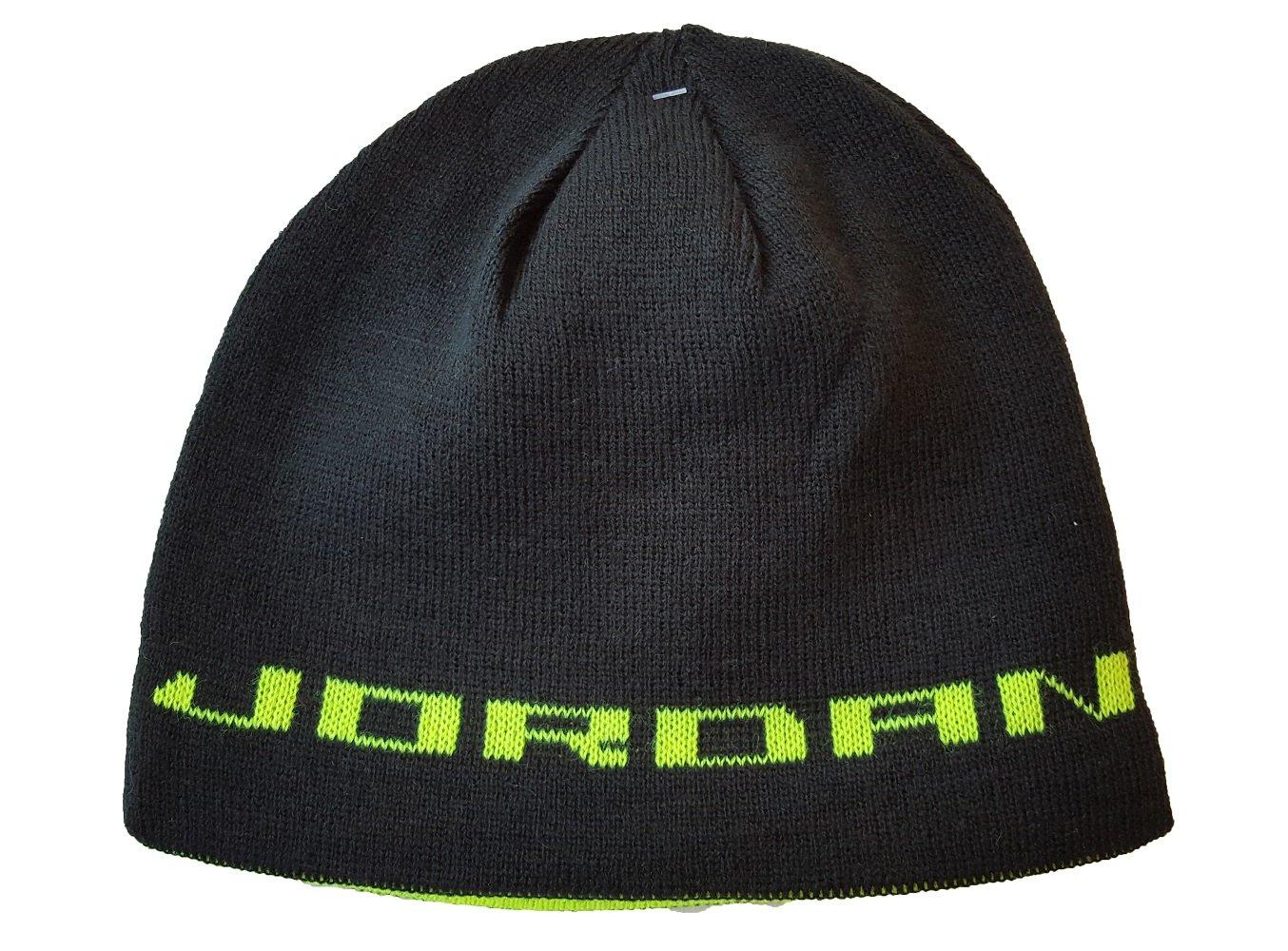 81ed2fe3a78e6 Amazon.com  NIKE Jordan Jumpman Boys Reversible Knit Hat Black Volt Youth  8 20  Sports   Outdoors
