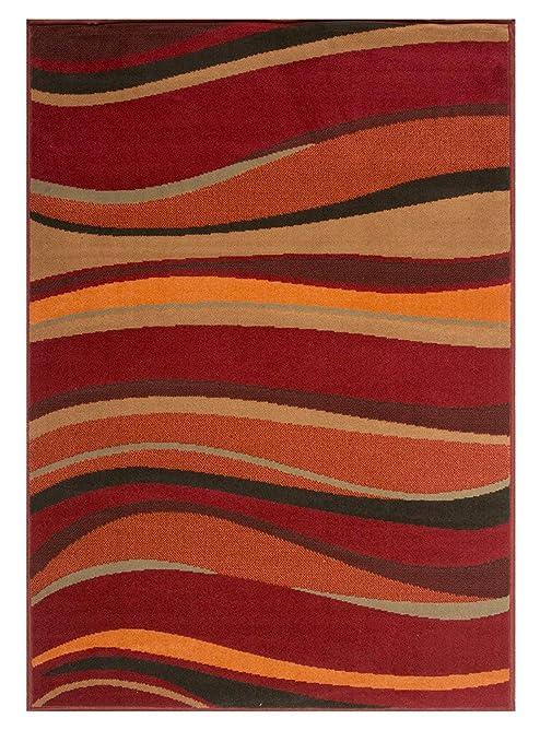 Soft Warm Red Brown Green and Burnt Orange Simple Modern Wave Living Room  Bedroom Area Rug 3\'11\