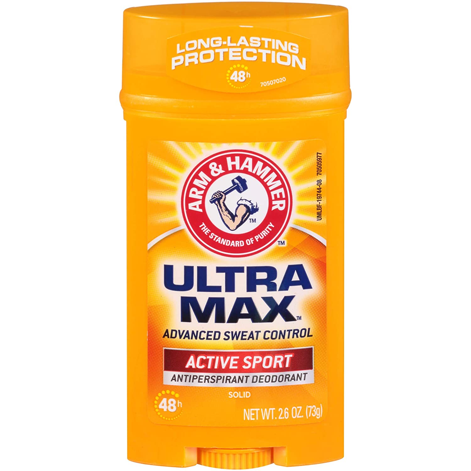 ARM & HAMMER ULTRA MAX Solid AntiPerspirant Deodorant, Active Sport, 2.6 oz. (Pack of 6)