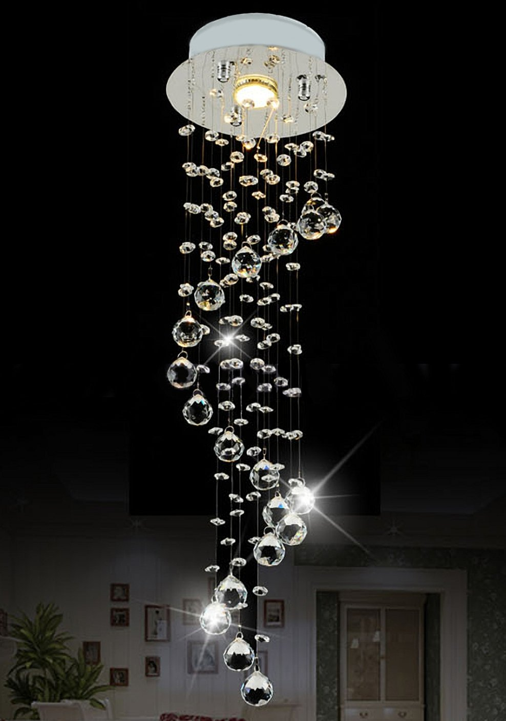 Siljoy Raindrop Chandelier Lighting Modern Crystal Ceiling Lighting D7.9'' x H29.5''