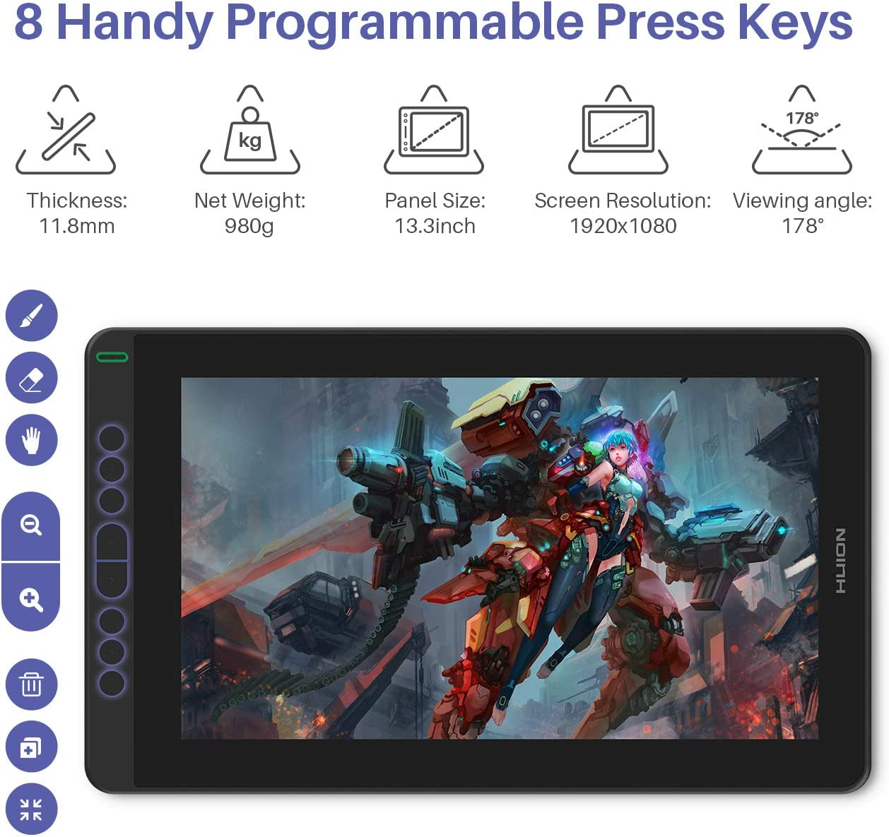 2020 HUION Kamvas 13 Android Support Graphics Drawing Tablet Monitor with Full Laminated Screen Battery-Free Stylus 8192 Pressure Sensitivity Tilt 8 Express Keys Adjustable Stand-13.3inch, Black: Computers & Accessories