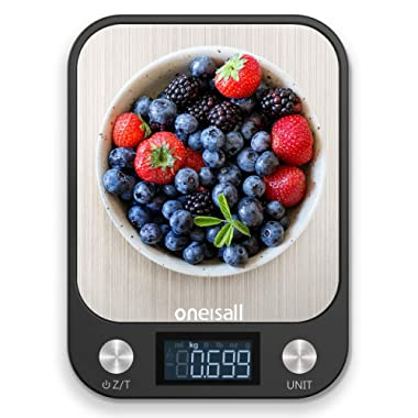 oneisall Food Scale, Multifunction Digital Kitchen Scale High Accuracy Electronic Food Weight with Large LCD Display, Stainless Steel Platform, Ultra Slim, Max. 11lb/5kg