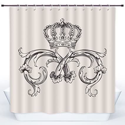 SCOCICI Stylish Shower CurtainMedievalRoyal Crown With Vintage Curves King Palace Ribbon Monochrome
