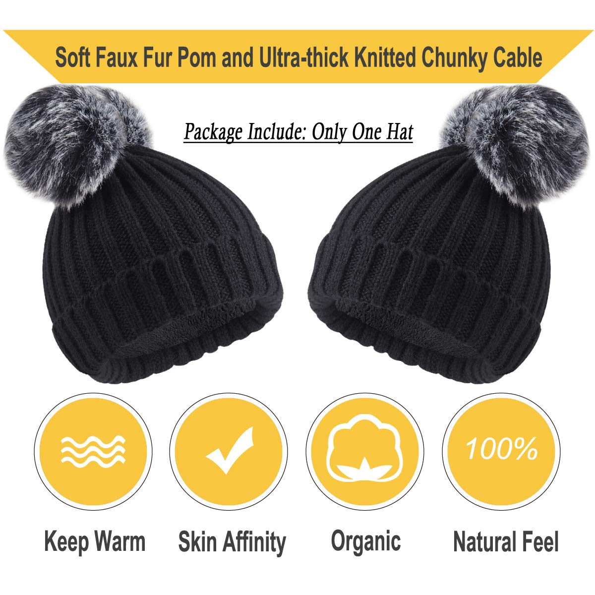 56764a03 Onway Baby Knit Winter Beanie with Warm Fleece Lined and Detachable 2 Faux  Fur Pom Pom, (Black Baby Beanie for Girls) at Amazon Women's Clothing store: