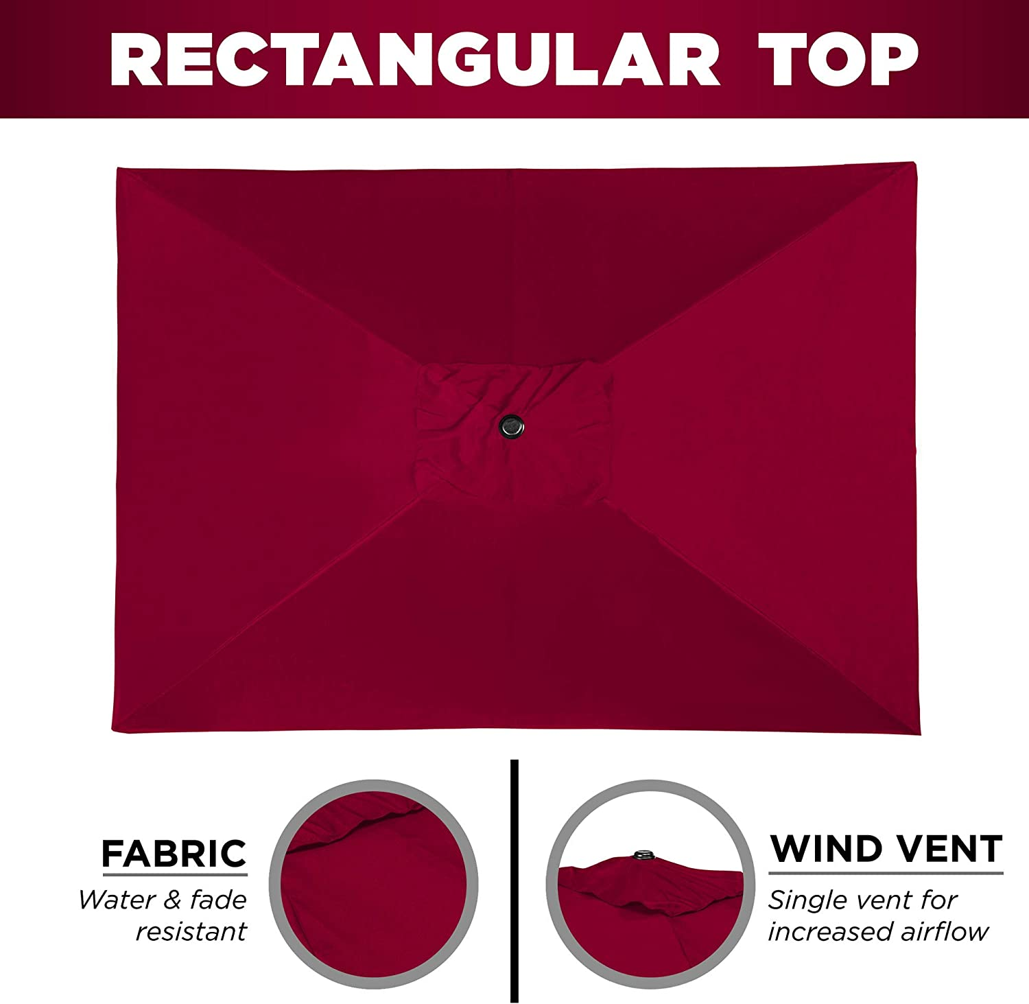 Burgundy Fade-Resistant 210G Polyester Fabric Best Choice Products 8x11ft Rectangular Patio Umbrella w//Crank