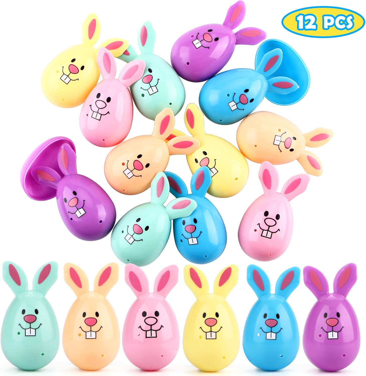 for Easter Hunt,Basket Stuffers Fillers,Classroom Prize Supplies,Filling Treats and Party Favor UFUNGA 12 PCS Easter Eggs Pastel Bunny Shaped Fillers Plastic Easter Eggs
