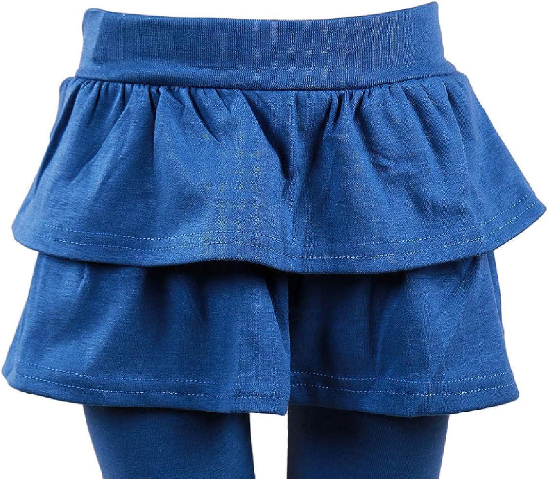 Girls Cute Elastic-Waist Skirted Leggings Tutu Pantskirt Pants Kids