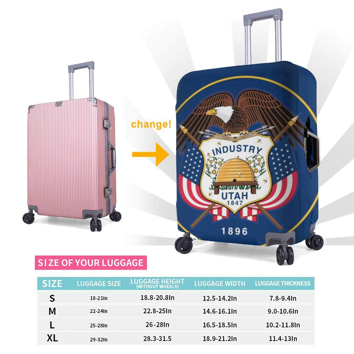 Thickened Luggage Protector Cover High Elastic Spandex Washable Anti-Scratch Travel Suitcase Protective Covers Northwest Utah State Flag Woven Fits 18 To 32 Inch