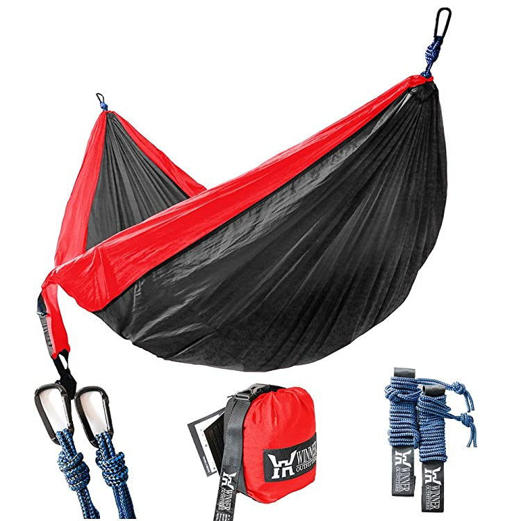 Winner Outfitters Double Camping Hammock - Lightweight Nylon Portable Hammock, Best Parachute Double Hammock For Backpacking, Camping, Travel