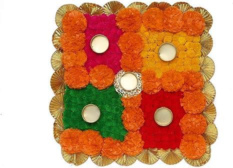 Amazon Com Artificial Marigold Flower Swastik Rangoli Mat Tealight Holder Home Decor Diwali Decor Gift For Home Interior Handcrafted Pooja Articles Rangoli Tea Light Holder Size 15 Home Kitchen