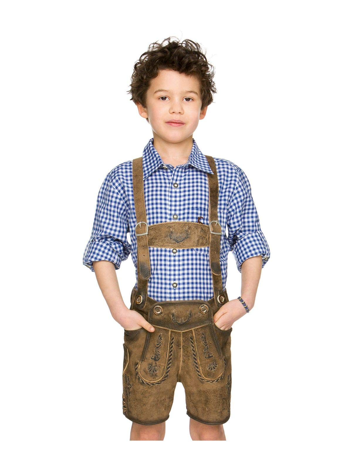 Stockerpoint Chlidren Leather Trousers Max Stone, 8-9 Brown