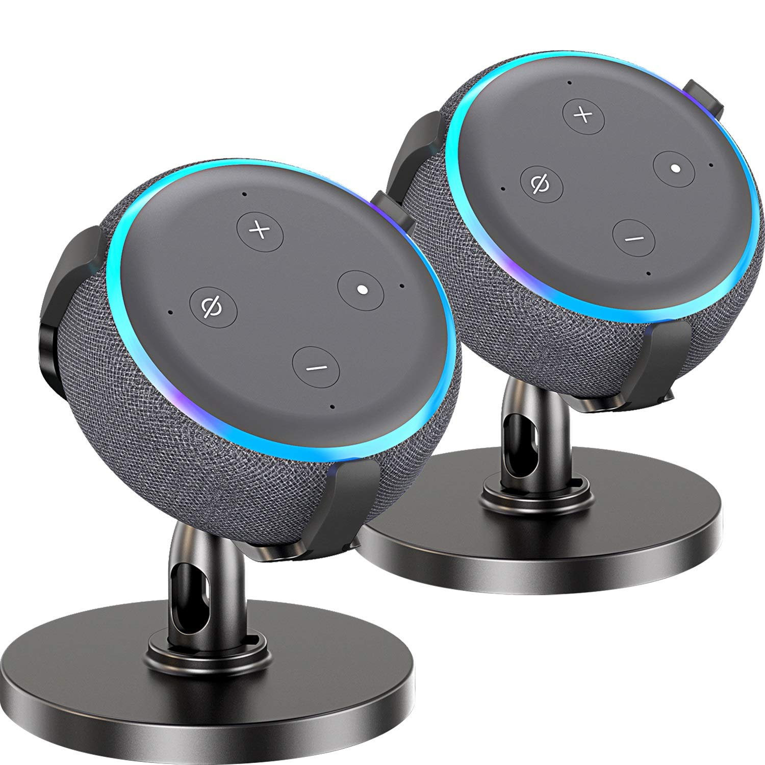 Fiada Table Holder for Dot 3rd Generation, 360°Adjustable Stand Mount Bracket Cradle with Rubber Protection for Smart Home Speaker, Improves Sound Visibility and Appearance, 2 Packs by Fiada
