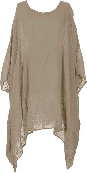 Women Linen Loose Kimono Top Plus Tunic Kaftan Irregular LongSleeve Blouse Shirt
