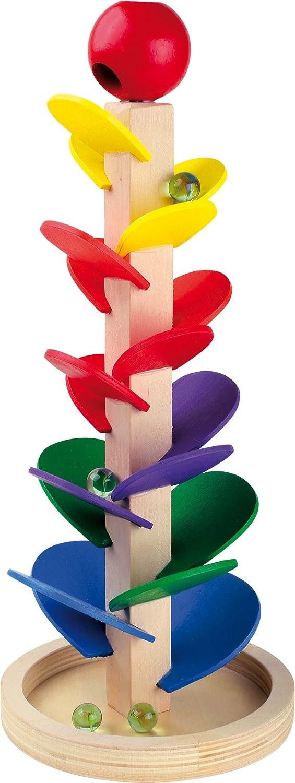 Komplett-Set H/öhe ca Murmelbahn 38 cm Murmeln Klangturm aus Holz Glasmurmeln im praktischen Netz GRATIS dazu erhalten Sie EbyReo/®