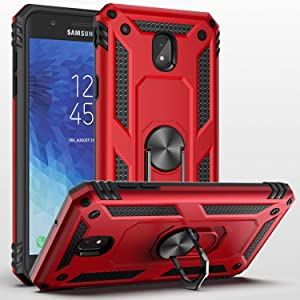 Galaxy J3 Star/J3 2018/J3 Orbit/J3 Achieve/J3 Prime 2/J3 Emerge 2018/Amp Prime 3/J3 Eclipse 2/Sol3/J3 Aura Case,SUSAA 360 Degree Metal Ring Holder Kickstand Phone Case Cover for Samsung J3 2018 RED