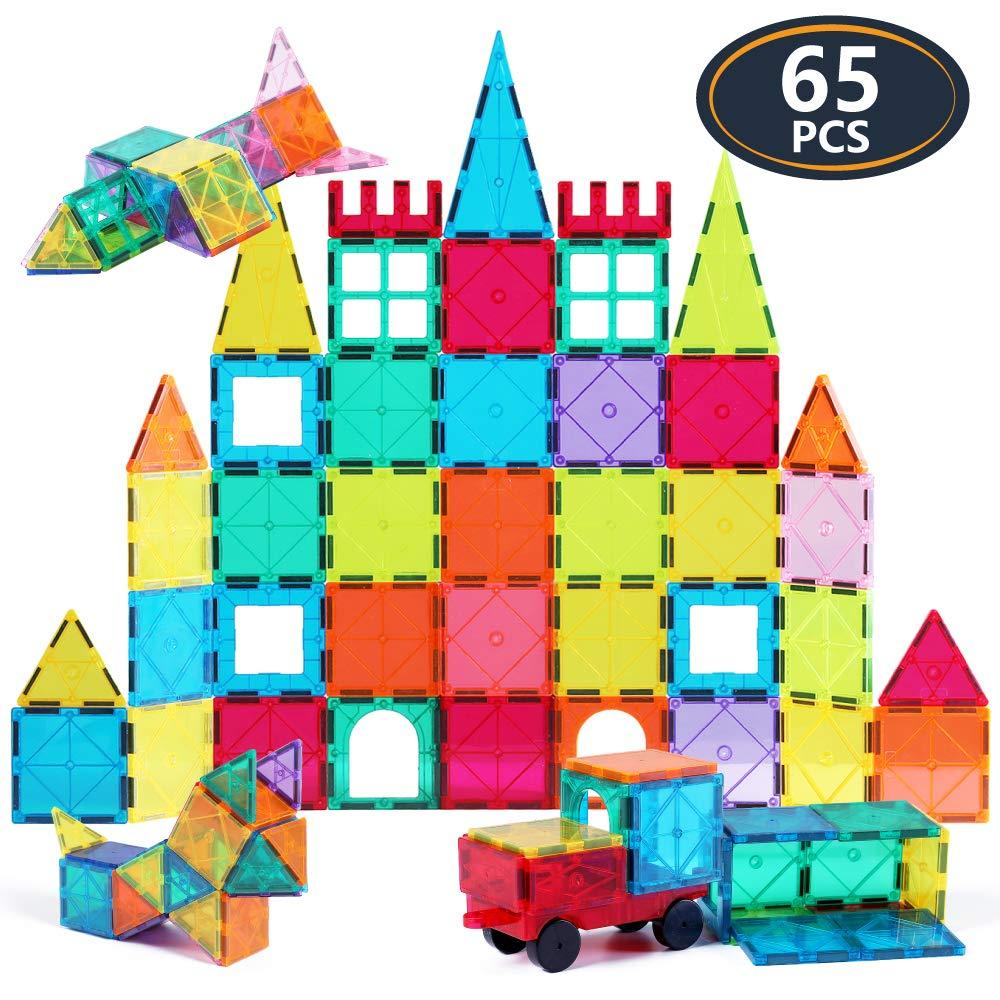 Jasonwell 65 PCS Magnetic Tiles Building Blocks Set for Boys Girls Preschool Educational Construction Kit Magnet Stacking Toys for Kids Toddlers Children 3 4 5 6 7 8 Year Old by Jasonwell