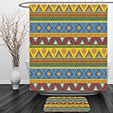 Vipsung Shower Curtain And Ground MatAztec Traditional Classic Navajo Folk Motif with Sun Figure Ancient Mexican Pagan Culture Image MultiShower Curtain Set with Bath Mats Rugs