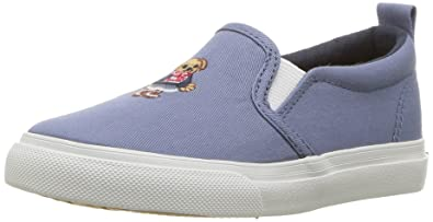 Polo Ralph Lauren Kids Girls Carlee Bear Sneaker French Blue Washed Chino 4 Medium US