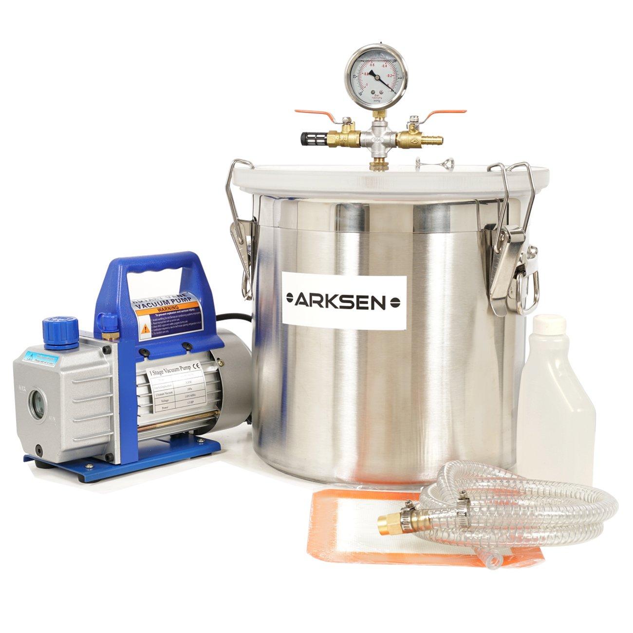 ARKSEN 5Gal Vacuum Chamber & 3CFM Deep Vane Pump, Degas Purge Epoxy Resin Kit