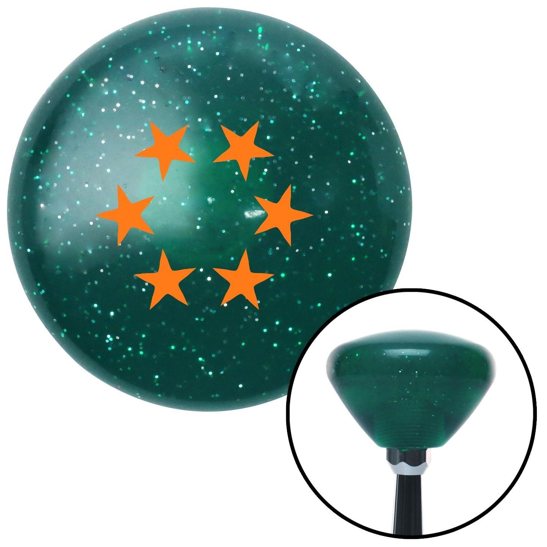 American Shifter 205205 Green Retro Metal Flake Shift Knob with M16 x 1.5 Insert Orange 5 Stars in Circle