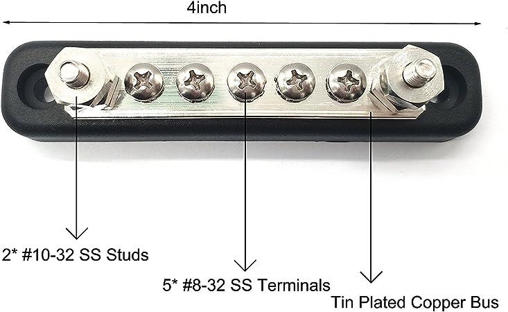 T Tocas 5 Polige 100amp Busbar Kit Mit 10 Schrumpfringen Power Ground Junction Verteilungsblock