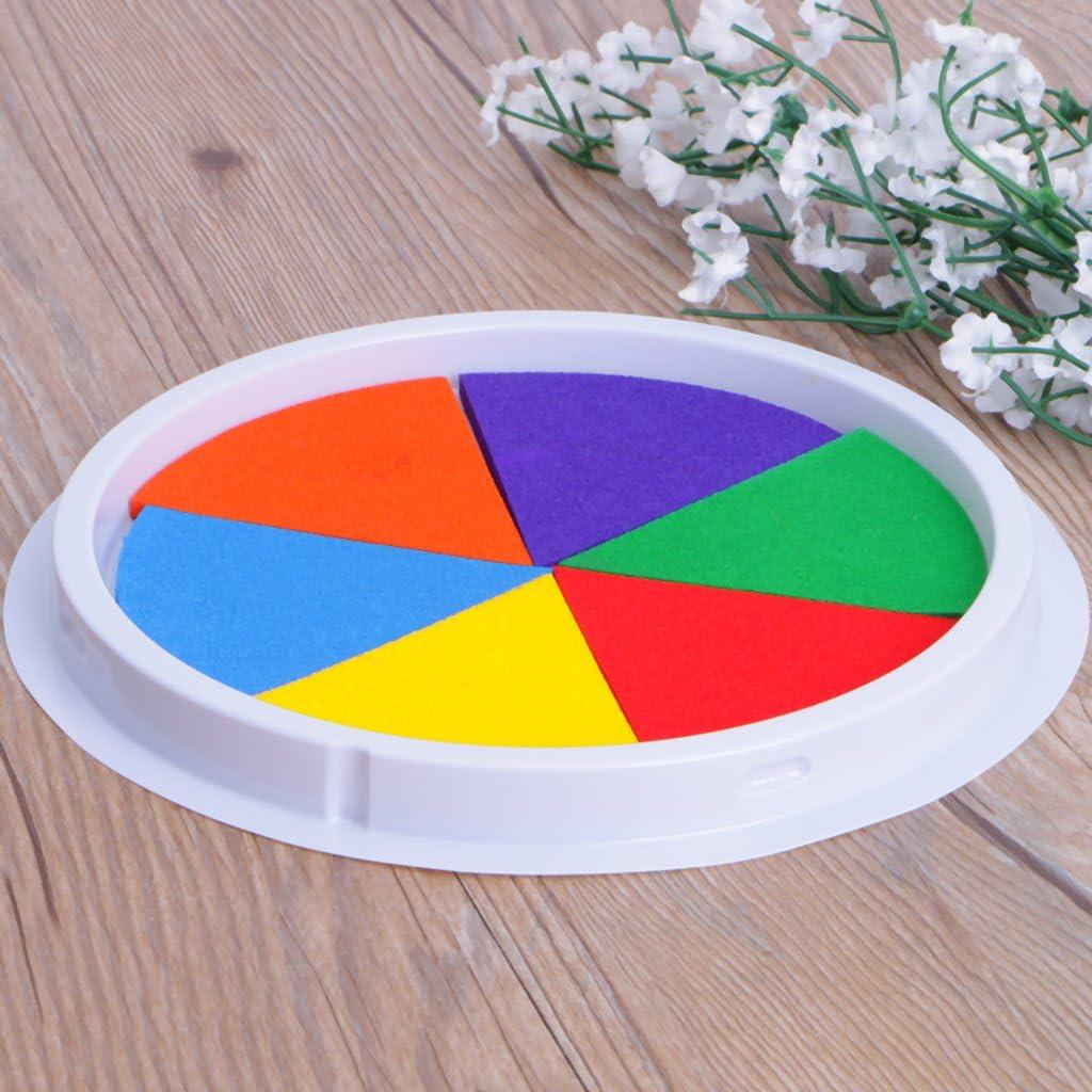 ATATMOUNT 6 Couleurs Tampon encreur Tampon Bricolage Peinture au Doigt Artisanat Fabrication de Cartes Grand Rond pour Les Enfants