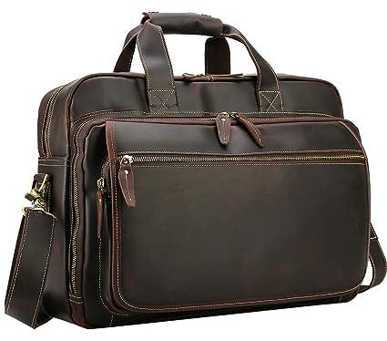 5ddaa5206972 Image Unavailable. Image not available for. Color  Polare Men s Full Grain  Leather Professional 17 quot  Messenger Laptop Tote Shoulder Bag