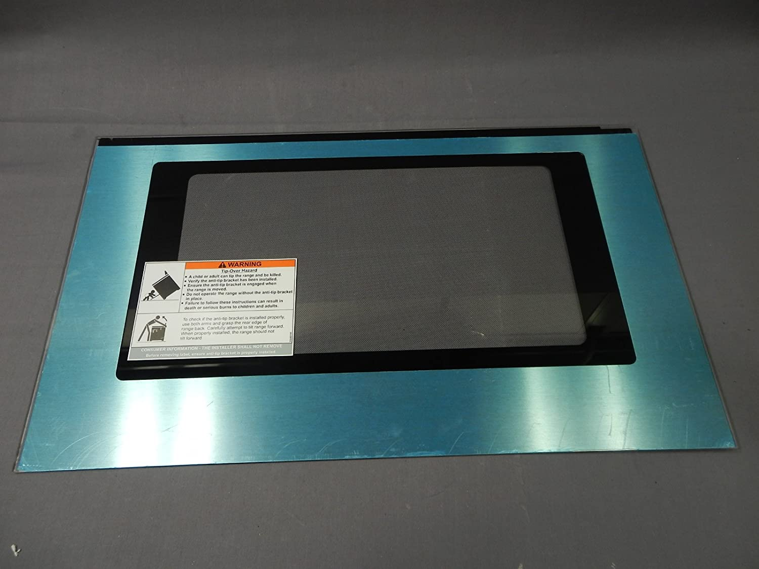 Frigidaire 316453036 Range Oven Door Outer Panel and Foil Tape (Stainless) Genuine Original Equipment Manufacturer (OEM) Part Stainless