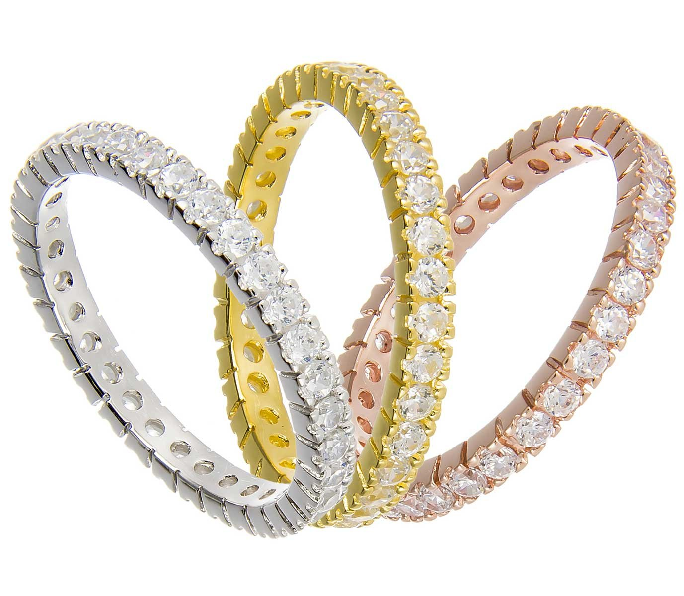 THREE Sterling Silver Tri-Color Stackable Handset CZ Eternity Band Ring Set (7)