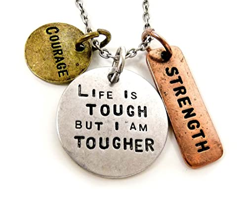 KIS-Jewelry Women Pendant Necklace 'Life is Tough But I Am Tougher'  Tri-Tone Antiqued, Stamped Charm Pendant with Religious Symbols  -Inspirational