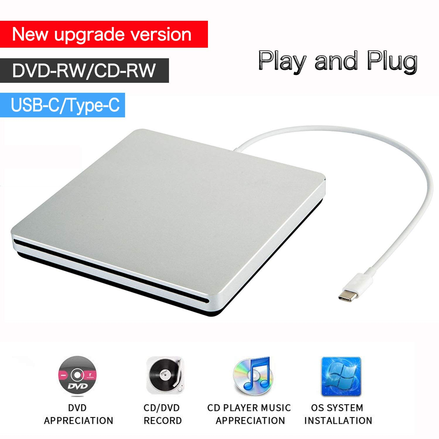 VesTcp USB-C Superdrive External DVD/CD Reader and DVD/CD Burner for Apple-MacBook Air/Pro/iMac/Mini/MacBook Pro/ASUS /ASUS/DELL Latitude with USB-C Port Plug and Play (Silver)
