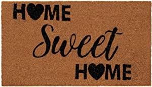 Gorilla Grip Premium Durable Coir Door Mat, 24x16, Thick Heavy Duty Coco Doormat for Indoor Outdoor, Easy Clean, Low Maintenance, Low-Profile Rug Mats for Entry, High Traffic, Home Sweet Home