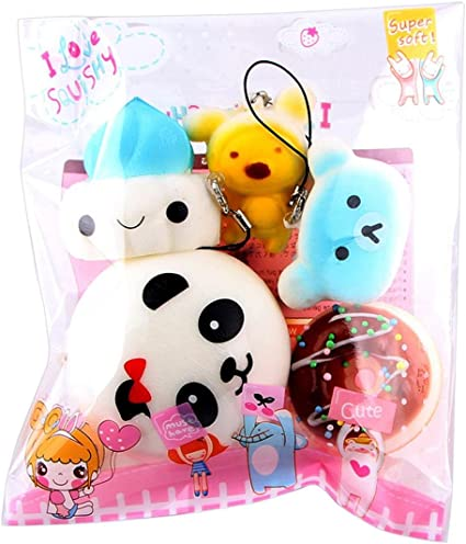Medium Mini Soft Squishy Bread Toys Key Phone Chain Stress Relief Toys-Pack of 5