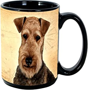 Imprints Plus Dog Breeds (A-D) Airedale 15-oz Coffee Mug Bundle with Non-Negotiable K-Nine Cash (airedale 001)