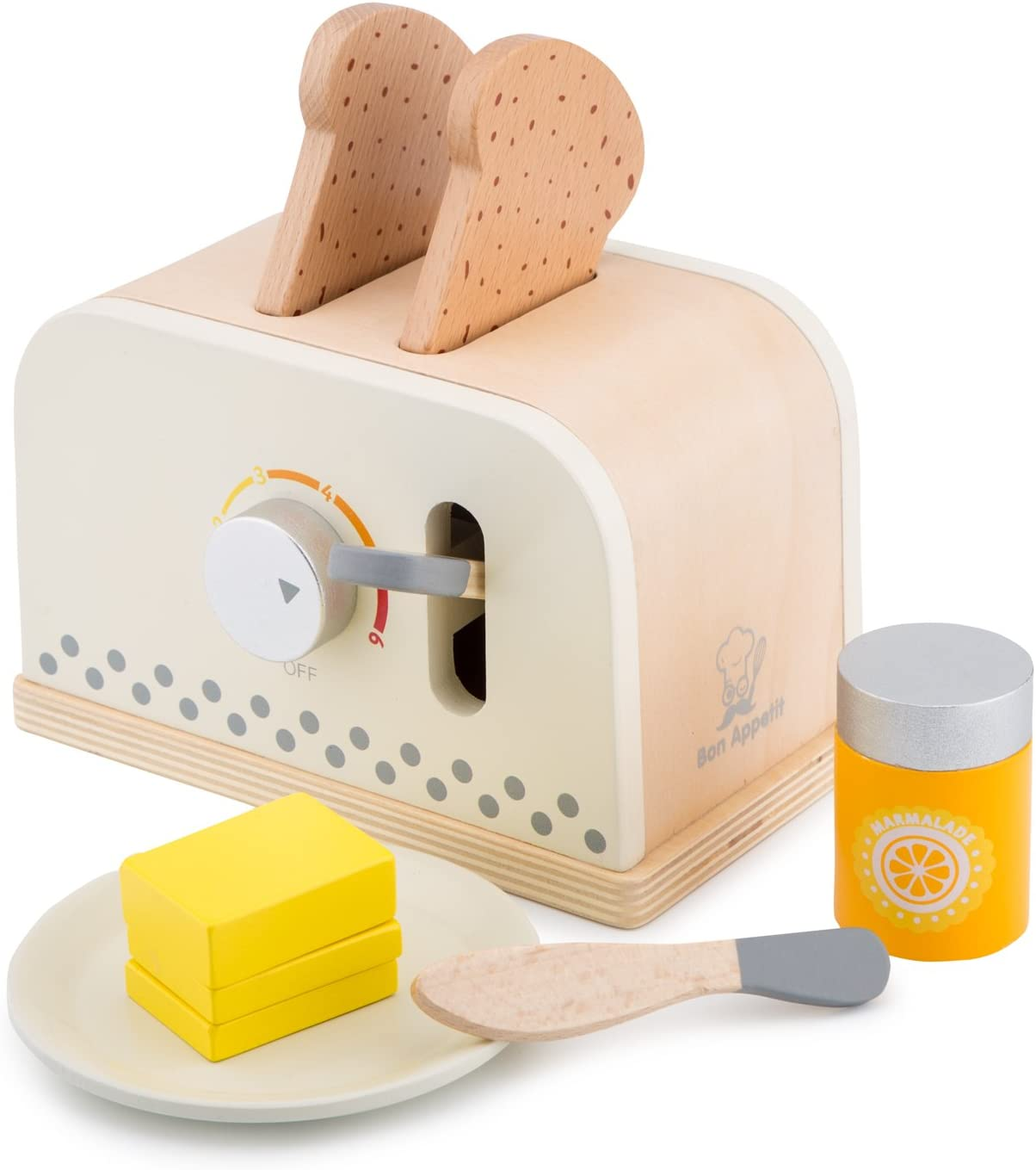 New Classic Toys Wooden Toaster Set Pretend Play Toy for Kids Cooking Simulation Educational Toys and Color Perception Toy for Preschool Age Toddlers Boys Girls