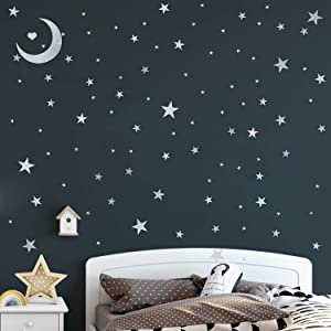 Star Wall Decals (191stars+1moon+1heart) Peel and Stick Removable Metallic Vinyl Wall Decals Fits Nursery Bedroom Home Decor