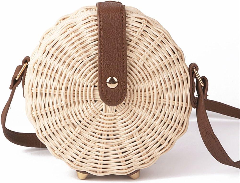 BoBoSaLa Women Handmade Round Beach Shoulder Bag Handmade Rattan Woven Round Handbag Knitted Messenger Bag Summer Beach Tote