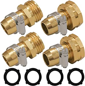 "Hourleey Garden Hose Repair Connector with Clamps, Fit for 3/4"" or 5/8"" Garden Hose Fitting, 2 Set"