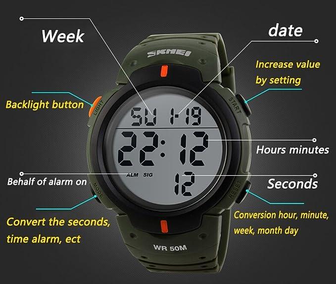 r-timer Hombre Digital Reloj Deportivo Militar Impermeable Casual Negro de Buceo de muñeca LED Display gran número: Amazon.es: Relojes
