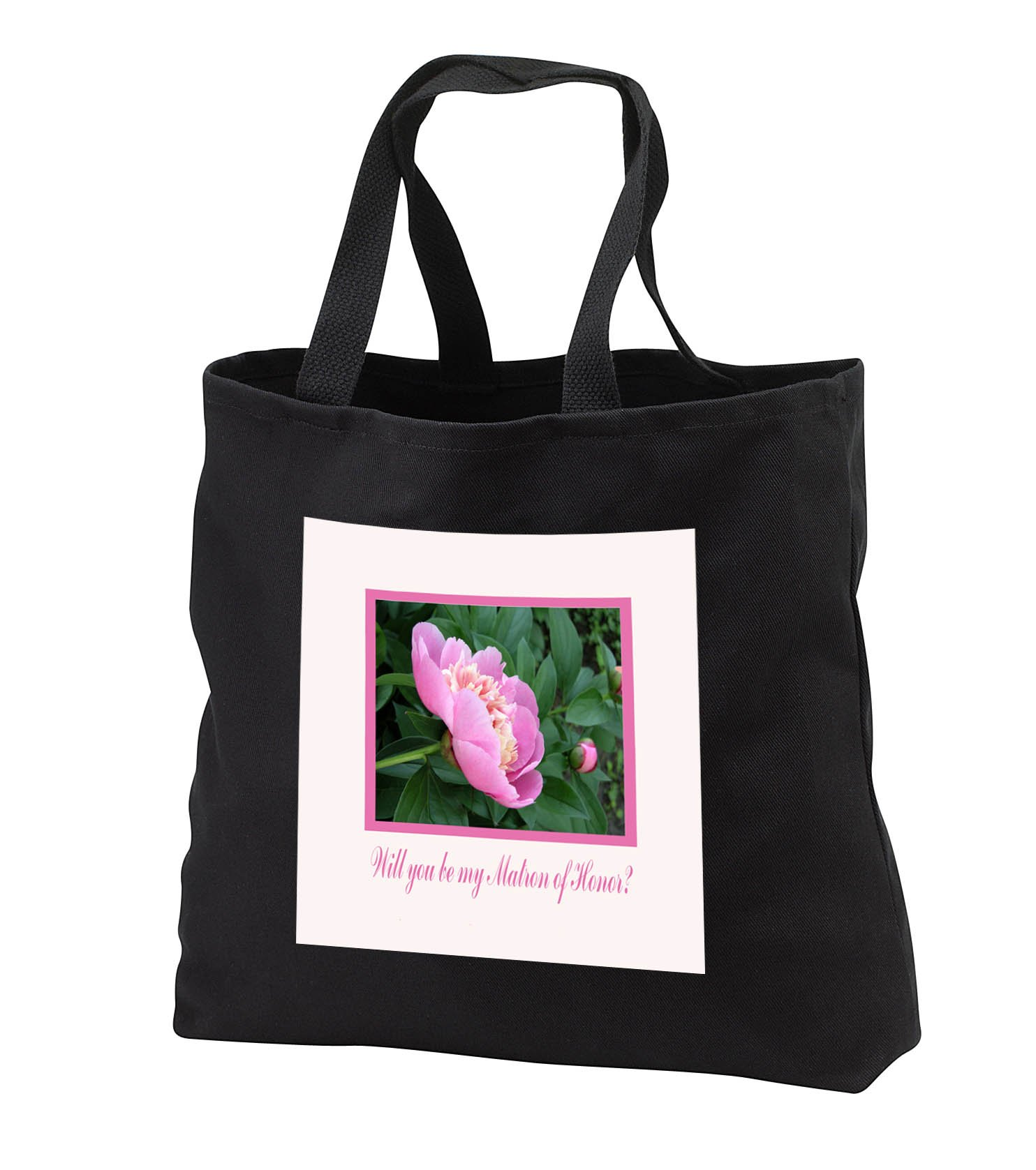 Beverly Turner Wedding Bridal Party Design - Will you be my Matron of Honor, Pink and Yellow Peony Flower - Tote Bags - Black Tote Bag 14w x 14h x 3d (tb_282197_1)