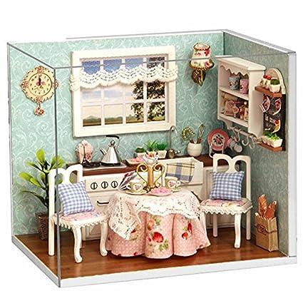 Amazon Com Dollhouse Miniature Diy Wood Kit Dolls House Room With