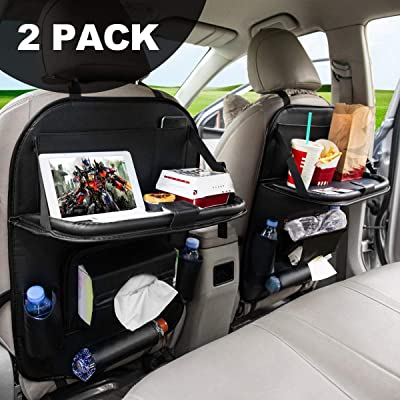FLY OCEAN Car Backseat Organizers, Back Seat Organizer with Tray and Storage Leather for Kids Toy Bottle Drink Vehicles Travel Accessories (Black 2 Pack): Automotive