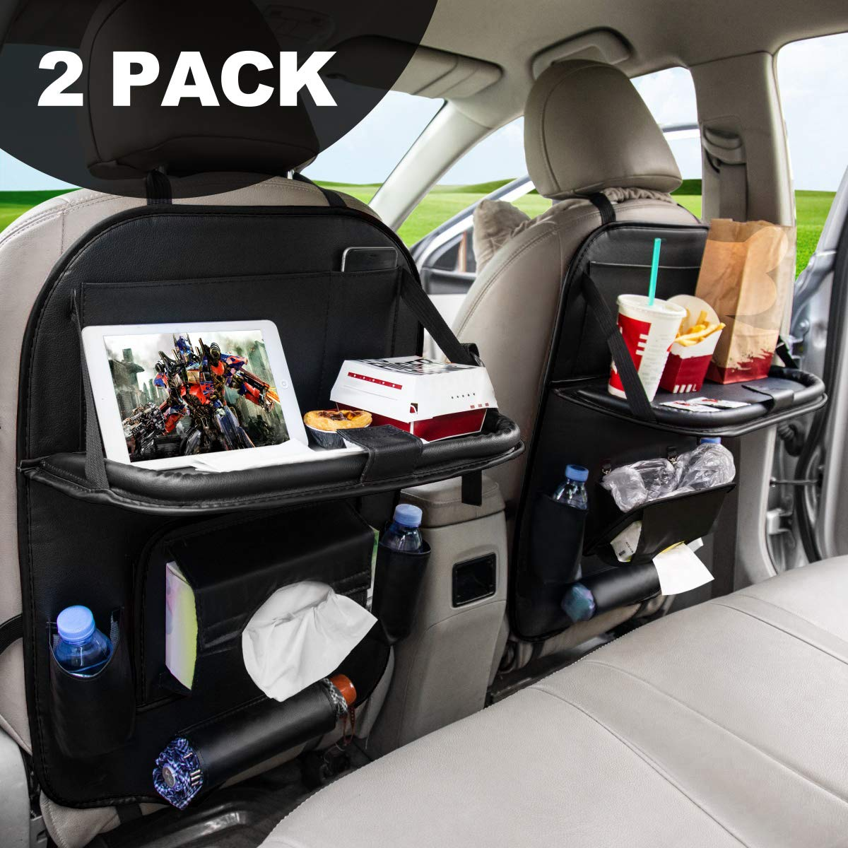 Car Backseat Organizers,FLY OCEAN Back Seat Organizer and Storage Leather for Kids Toy Bottle Drink Vehicles Travel Accessories (2 Pack)