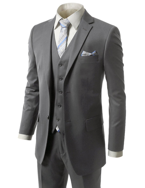 MONDAYSUIT Men RegularFit Striped 3Piece Suit Blazer Tuxedo Vest Trouser-44R 38W