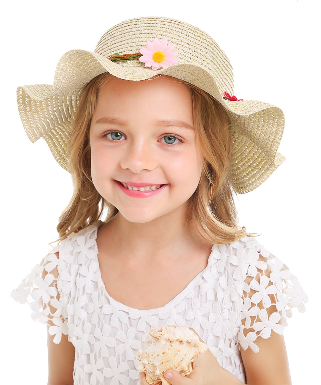 Bienvenu Sun Straw Hat Kids Girls Large Wide Brim Travel Beach Beanie Cap,Beige by Bienvenu (Image #4)