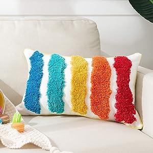 Rainbow Lumbar Small Decorative Throw Pillows Cover Tufted Kids Pillows Cover 12 X 20 Inch, Cute Boho Rectangular Pillow Case for Couch Sofa Bedroom Living Room Nursery Décor