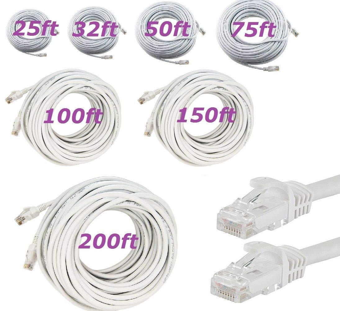 16FT Bestyu CAT 5 CAT5 RJ45 Ethernet LAN Network Patch Cable 3FT 6FT 10FT 16FT 25FT 32FT 50FT 75FT 100FT 150FT 200FT for PS4 PS3 Xbox Internet Router Laptop PC Computer White Colour