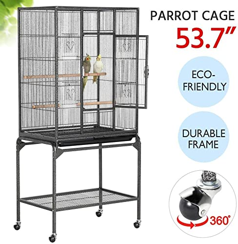 53.7 H Mobile Large Parrot Cage w Stand Bird Cage for Conures Parakeets Cockatiels, Pet Cage for Small Animal, Large Rolling Metal Pet Cage with Detachable Stand, Black