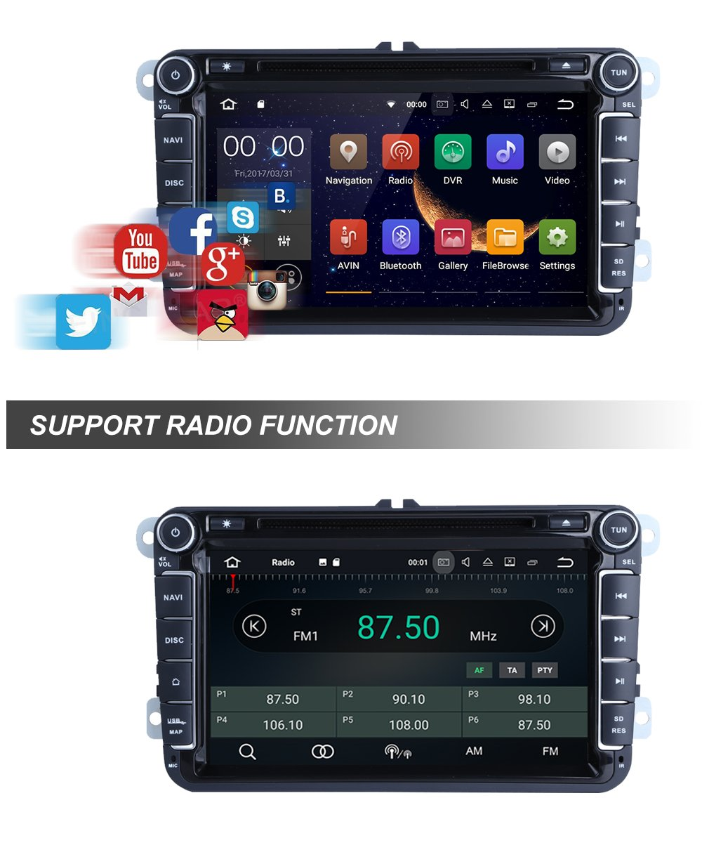 Freeauto pour VW Android 7.1 double DIN 20,3 cm lecteur de voiture Wifi Mod/èle avec support int/égr/é CANBUS Bluetooth USB SD gratuit Cam/éra de recul GPS FM AM RDS SWC
