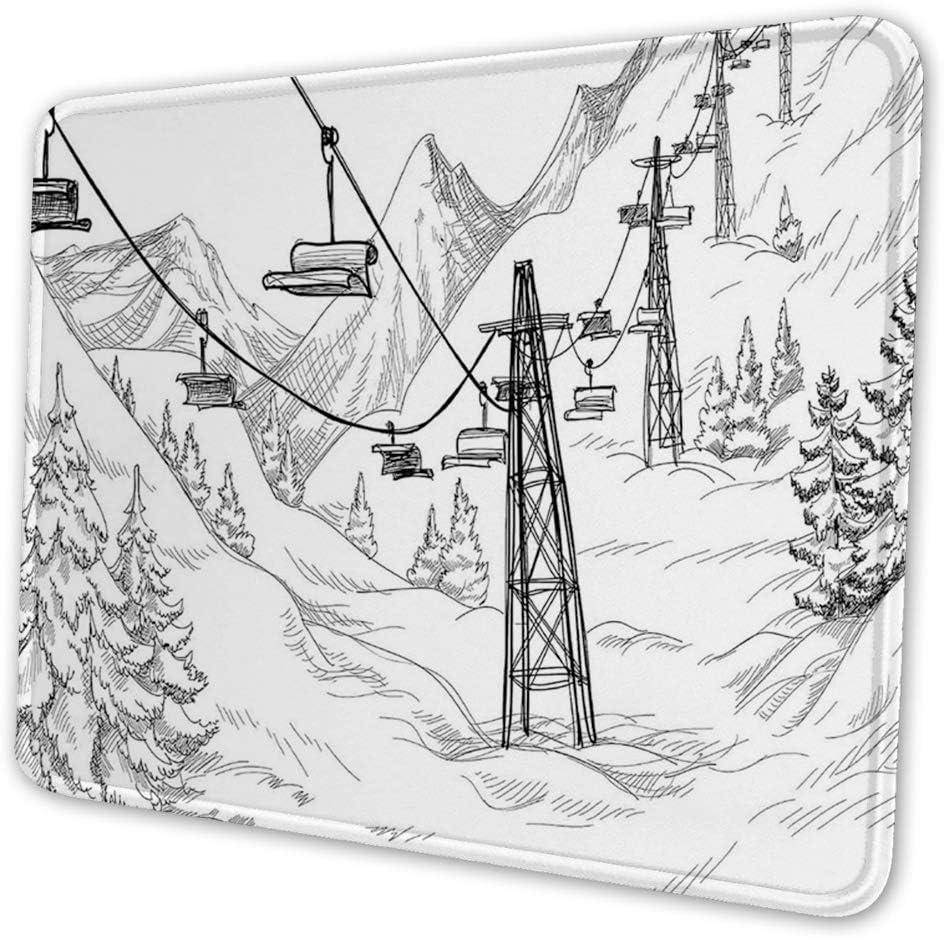 Rectangular Mousemat Mousepad,Ski Lift with Fir Trees Monochrome Seasonal Holiday Destination Themed Sketch,10 x 12 inch